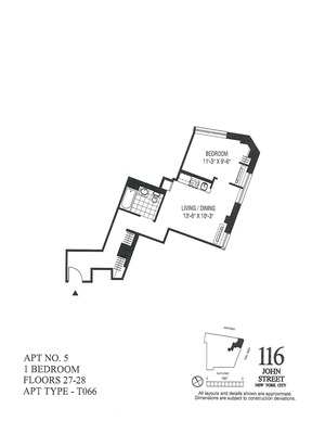 floorplan for 116 John Street #2705