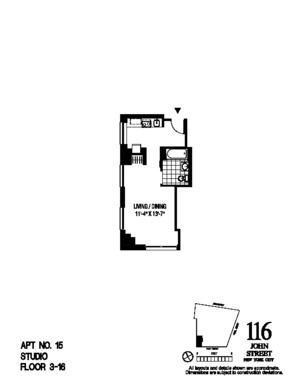 floorplan for 116 John Street #1815