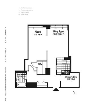 floorplan for 601 West 57th Street #10J