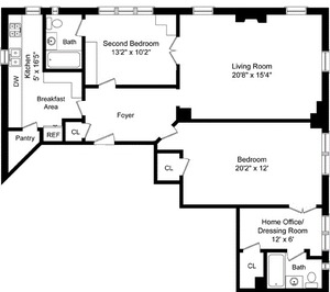 floorplan for 210 Riverside Drive #6B