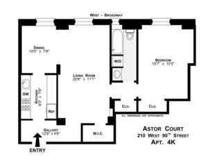 floorplan for 210 West 90th Street #4K