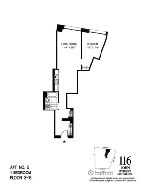 floorplan for 116 John Street #1905