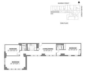 floorplan for 50 Murray Street #K18
