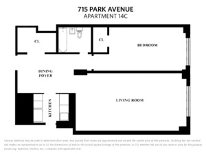 floorplan for 715 Park Avenue #14C