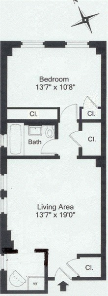 floorplan for 49 West 72nd Street #2A
