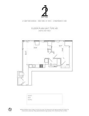 floorplan for 21 West End Avenue #1501