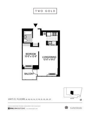 floorplan for 2 Gold Street #27E