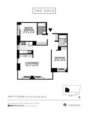 floorplan for 2 Gold Street #16F