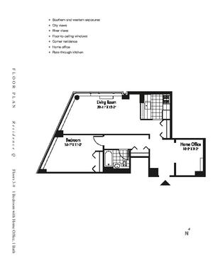 floorplan for 601 West 57th Street #5Q