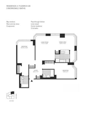 floorplan for 345 East 94th Street #12A