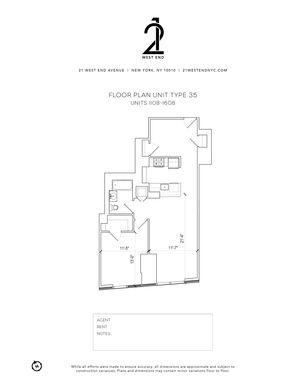 floorplan for 21 West End Avenue #1408