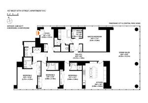 floorplan for 157 West 57th Street #51C