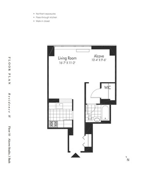 floorplan for 601 W 57th Street #10H