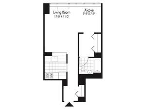 floorplan for 601 West 57th Street #26H