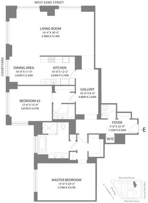 floorplan for 15 Central Park West #6E