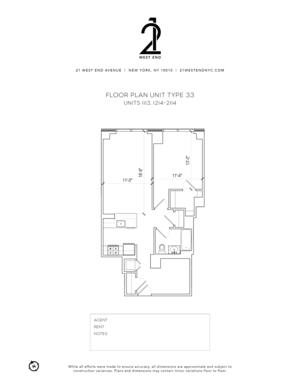 floorplan for 21 West End Avenue #1414