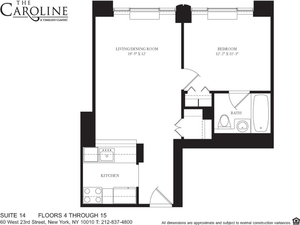 floorplan for 60 West 23rd Street #1014