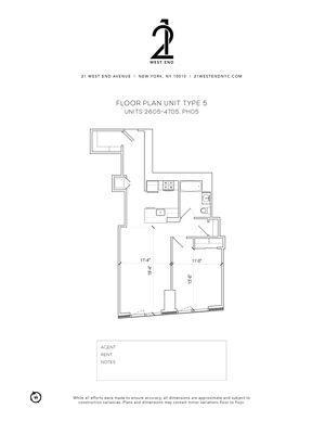 floorplan for 21 West End Avenue #2705