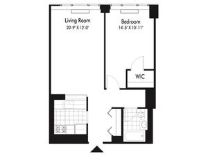 floorplan for 601 West 57th Street #14Q