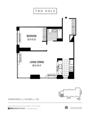 floorplan for 2 Gold Street #3209