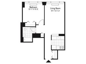 floorplan for 601 West 57th Street #28G