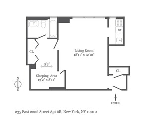 floorplan for 235 East 22nd Street #6R