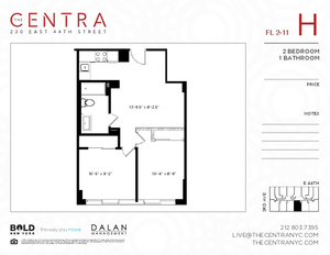 floorplan for 230 East 44th Street #9H