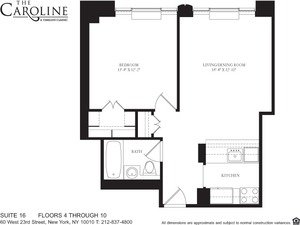 floorplan for 60 West 23rd Street #516