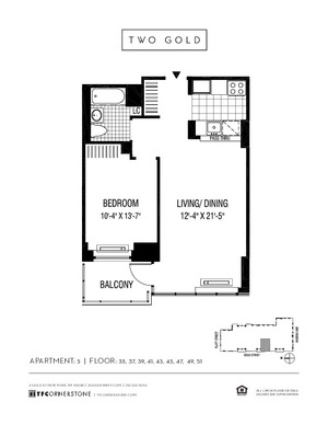 floorplan for 2 Gold Street #4105
