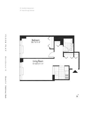 floorplan for 601 West 57th Street #7E