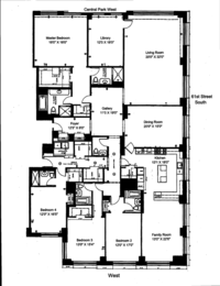 floorplan for 15 Central Park West #7A
