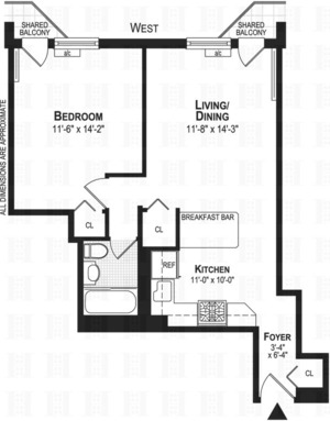 floorplan for 211 Thompson Street #3A