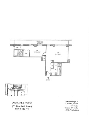 floorplan for 55 West 14th Street #19A