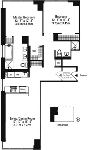 floorplan for 39 East 29th Street #13A