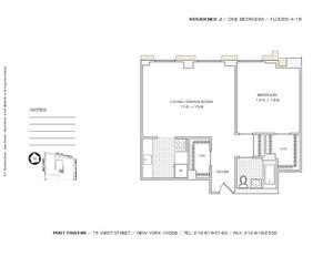 floorplan for 75 West Street #15J