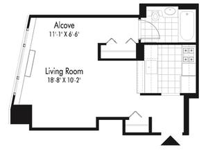 floorplan for 601 West 57th Street #26B