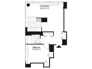 floorplan for 601 West 57th Street #22N