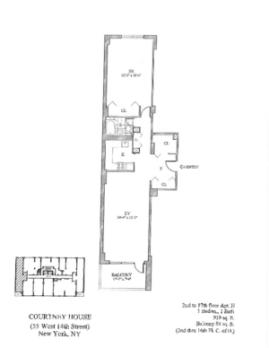 floorplan for 55 West 14th Street #6H