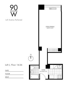 floorplan for 90 Washington Street #20J