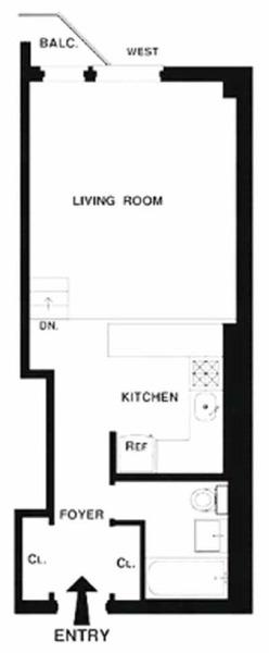 floorplan for 211 Thompson Street #5D