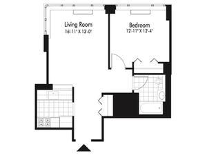 floorplan for 601 West 57th Street #38D