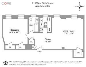 floorplan for 210 West 90th Street #8M