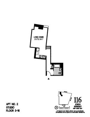 floorplan for 116 John Street #602