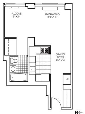 floorplan for 271 West 47th Street #26E