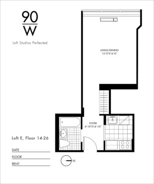 floorplan for 90 Washington Street #26E