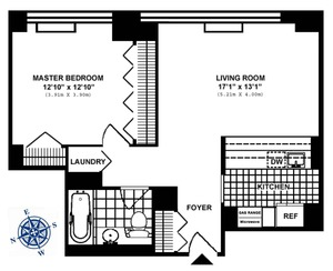 floorplan for 422 East 72nd Street #34B
