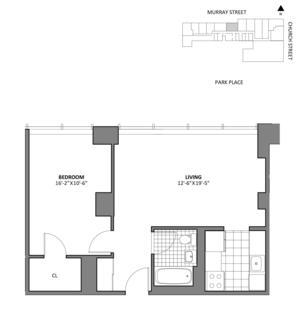 floorplan for 50 Murray Street #D19