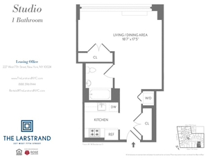 floorplan for 227 W 77th Street #8D