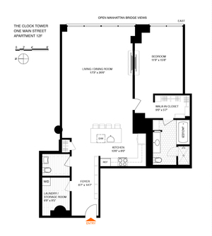 floorplan for 1 Main Street #12F