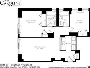 floorplan for 60 West 23rd Street #851